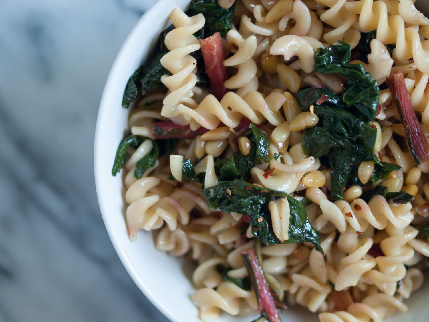pasta with swiss chard and pine nuts