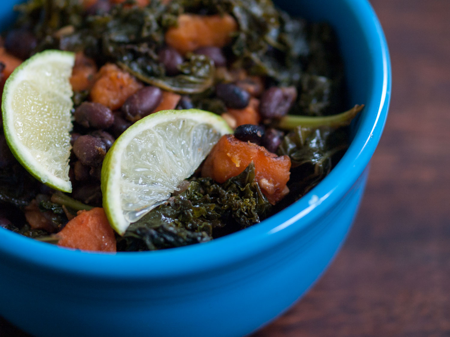 black beans, kale, sweet potato