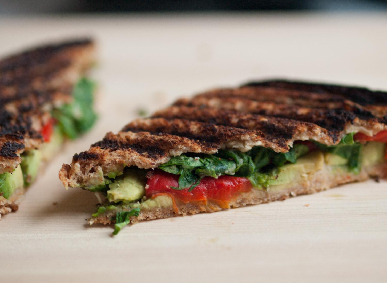 pressed hummus sandwich