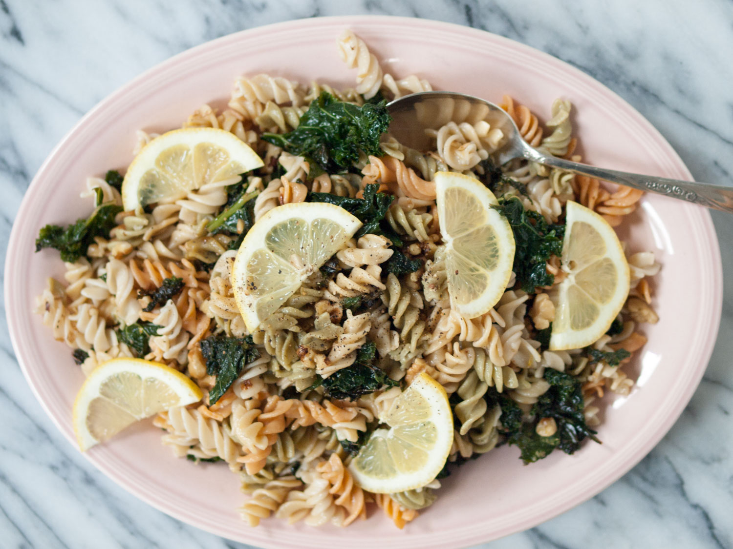 lemony pasta with kale and walnuts
