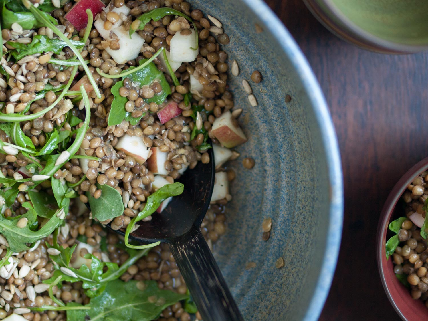 lentil salad with apple and arugula