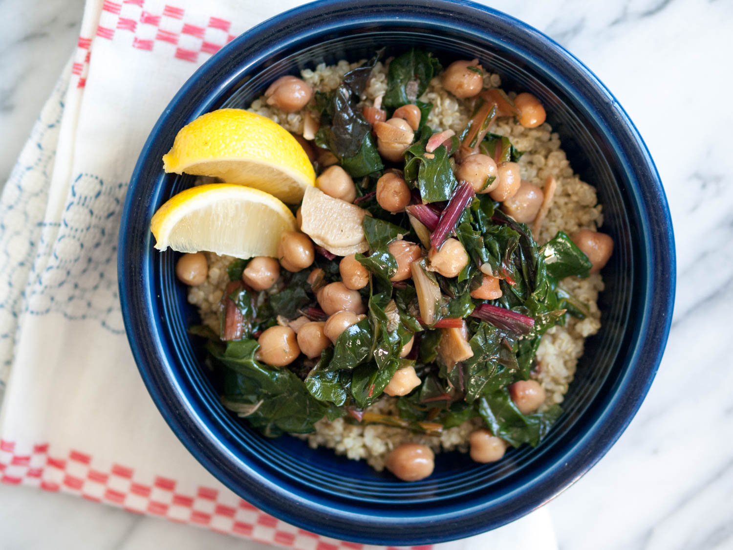 chickpeas with swiss chard and quinoa