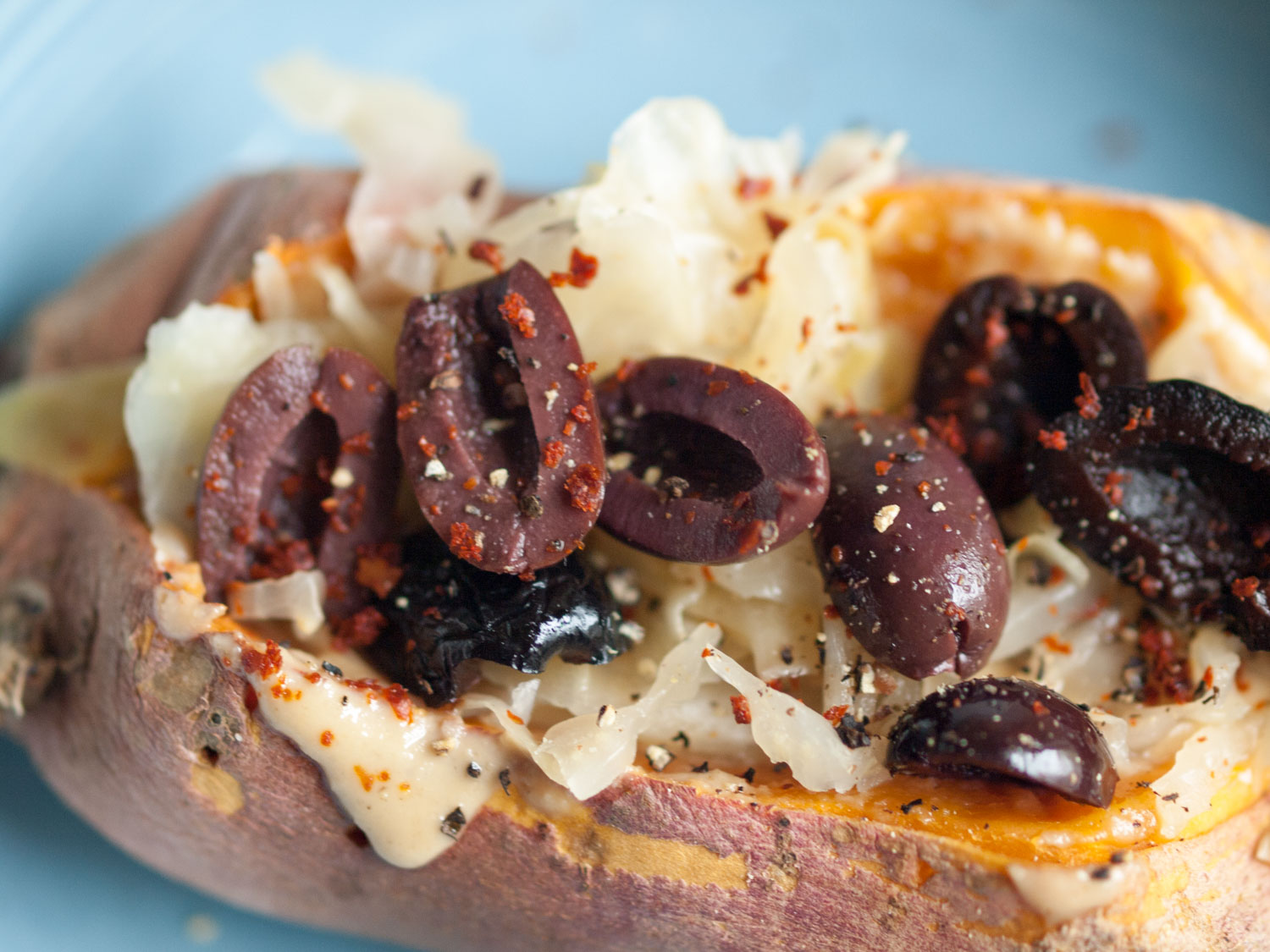 sweet potato sauerkraut tahini