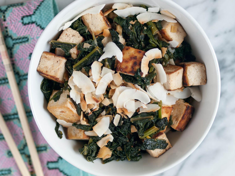 kale tofu coconut stir-fry