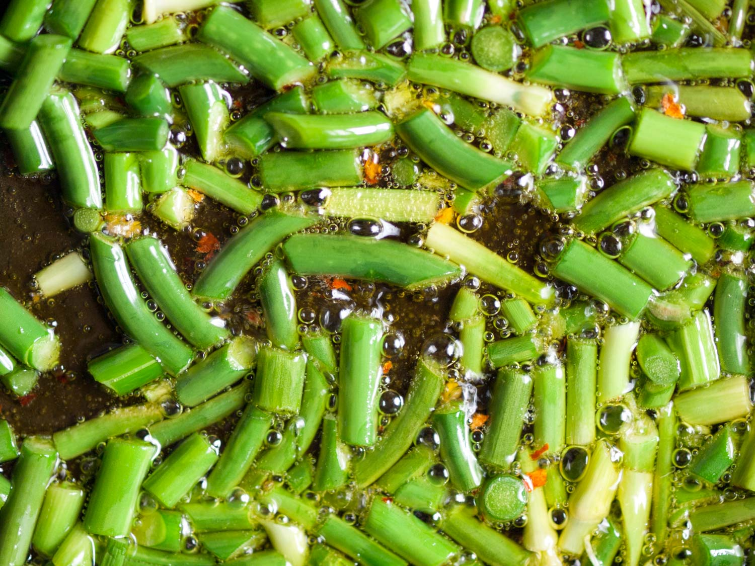sizzling garlic scapes