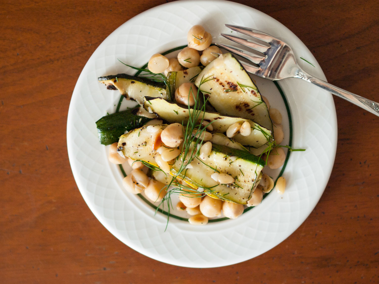 grilled zucchini with chickpeas and dill