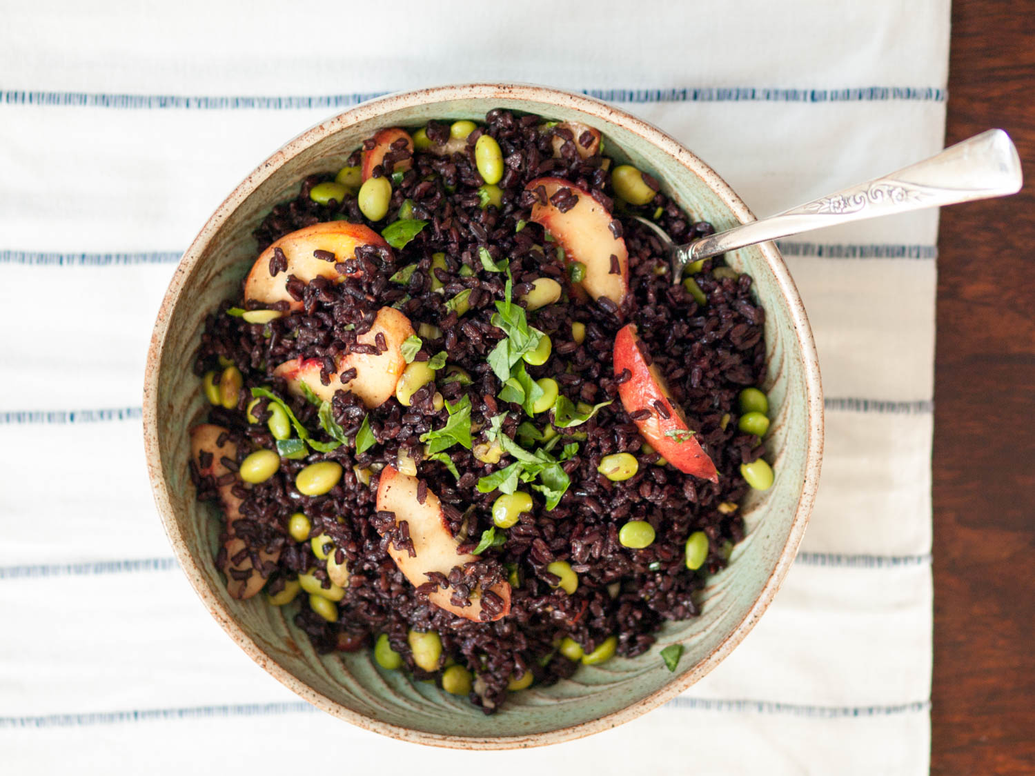 black rice salad with peaches and edamame
