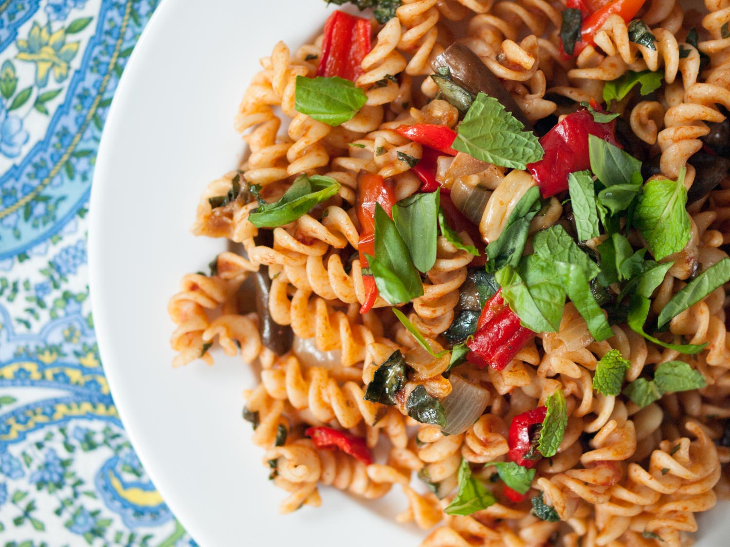 pasta with fairytale eggplants and peppers