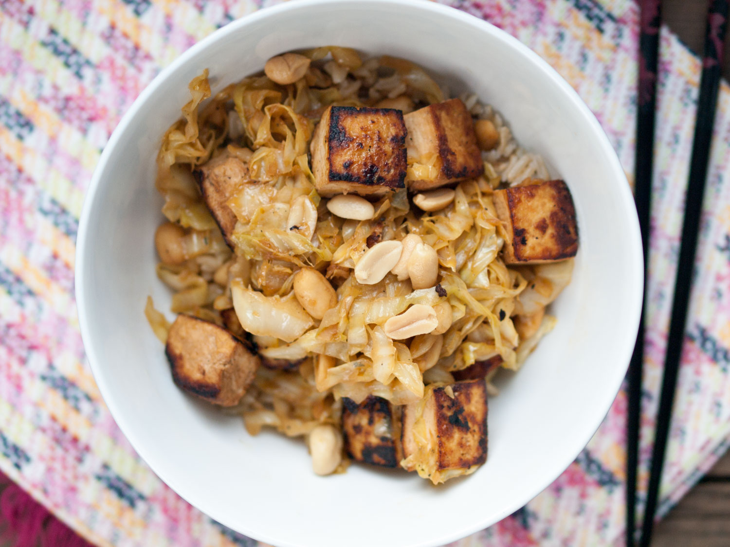 spicy cabbage and tofu with peanuts